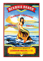 Fireworks Labels, Mermaid Brand (Firework Labels 4th of July Greeting Cards)