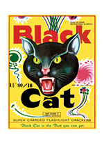 Fireworks Labels, Black Cat (Firework Labels 4th of July Greeting Cards)