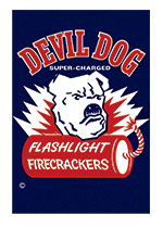 Fireworks Labels, Devil Dog (Firework Labels 4th of July Greeting Cards)