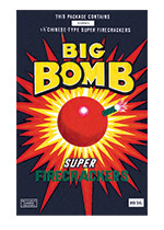 Fireworks Labels, Big Bomb (Firework Labels 4th of July Greeting Cards)