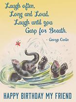 Baby Elephant Bathing (Birthday Greeting Cards)