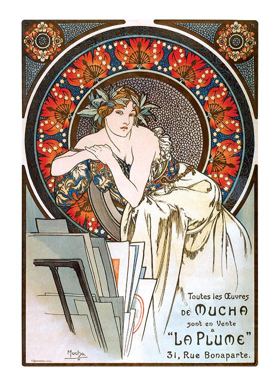 Alphonse Mucha Greeting Card, La Plume (Alphonse Mucha Greeting Cards)