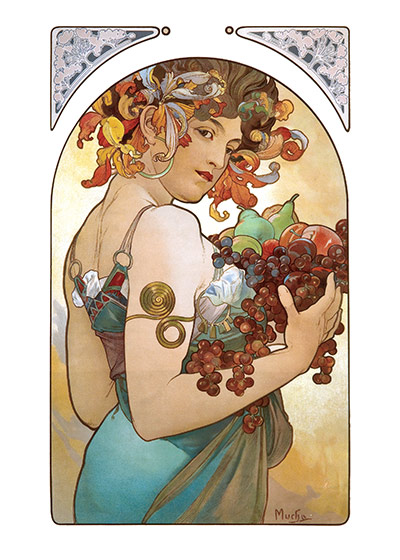 Alphonse Mucha Art Print, Fruit (Alphonse Mucha Graphic Design Art Prints)