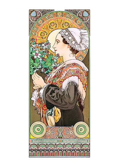 Alphonse Mucha Greeting Card, Sea Holly (Alphonse Mucha Graphic Design Greeting Cards)