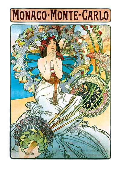Alphonse Mucha Greeting Card, Monaco Monte Carlo (Alphonse Mucha Graphic Design Greeting Cards)