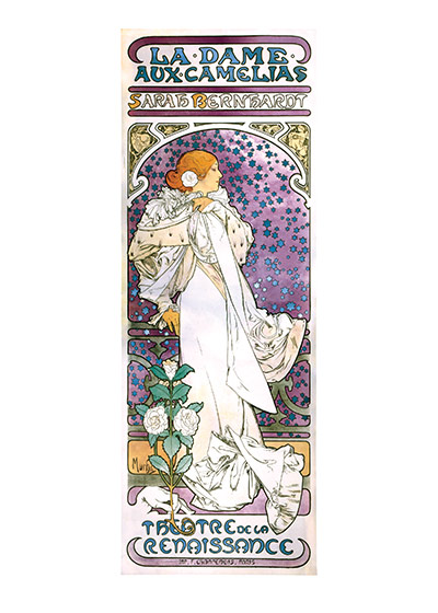 Alphonse Mucha Art Print, The Lady of the Camellias (Alphonse Mucha Graphic Design Art Prints)