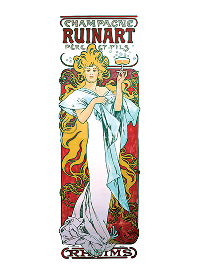 Alphonse Mucha Greeting Card, Champagne Ruinart (Alphonse Mucha Graphic Design Greeting Cards)