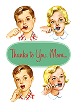 Children Brushing Teeth (Mother's Day Greeting Cards)