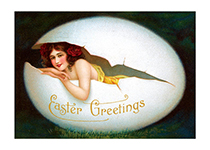 Smiling Woman in Egg (Easter Greeting Cards)