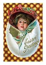 Woman with Hat in Egg (Easter Greeting Cards)