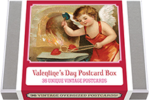 Valentine's Day Postcard Box - 36 Unique Vintage Postcards
