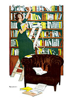 Book Lady on a Ladder (Books and Readers Greeting Cards)