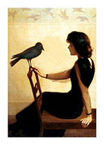 Lady with a Raven (Women Art Prints)