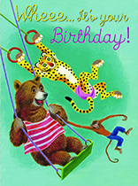 Swinging Animals (Birthday Greeting Cards)