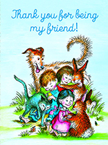 Children & Animals Hugging (Friendship Greeting Cards)