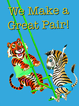 Tiger & Zebra on a Swing (Anniversary Greeting Card)