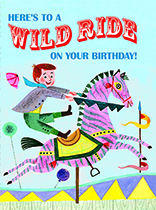 Boy on a Pink Horse (Birthday Greeting Cards)