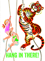 Children & Tiger Climbing Ropes (Encouragement Greeting Cards)