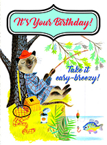 Fisherman Cat (Birthday Greeting Cards)