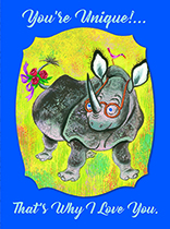 Rhino with Glasses (Anniversary Greeting Cards)