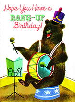 Bear with a Drum (Birthday Greeting Cards)