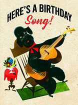Poodle with a Guitar (Birthday Greeting Cards)