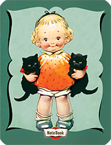 Hello Darling Notebook - Little Girl Holding Black Kittens