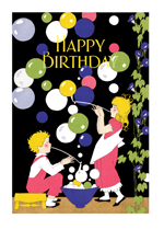 Children Blowing Bubbles (Birthday Greeting Cards)