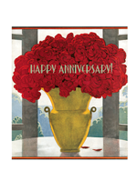 Vase of Red Roses Anniversary (Anniversary Greeting Cards)