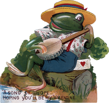 Frog Playing Banjo Valentine's Day Die-Cut (Classic Valentine's Day Greeting Cards)