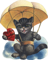 Cat in Parachute (Classic Valentine's Day Greeting Cards)